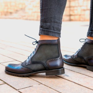 Handmade Women's Lace Up Brogue Boot shoes |  BURNISHING
