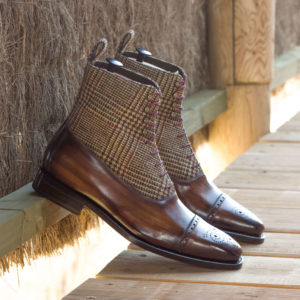 Handmade Balmoral Boot shoes    Goodyear Welted Patina
