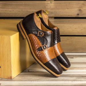 Handmade Double Monk Python shoes |  Exotic Skins