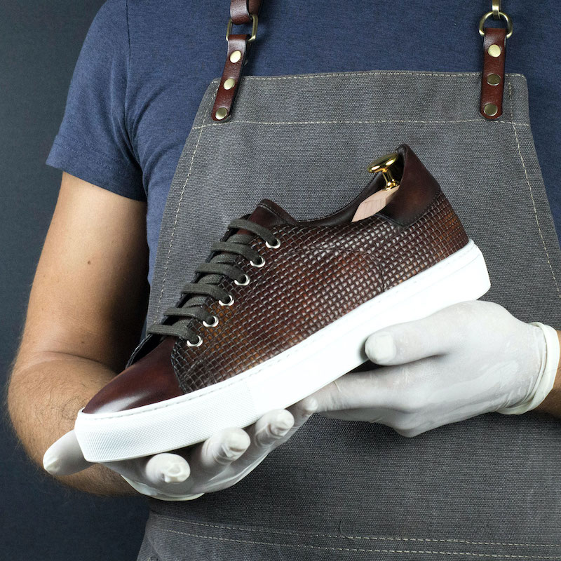 Handmade Fire Museum Braided Calf Trainer shoes |  limited Mens Dress